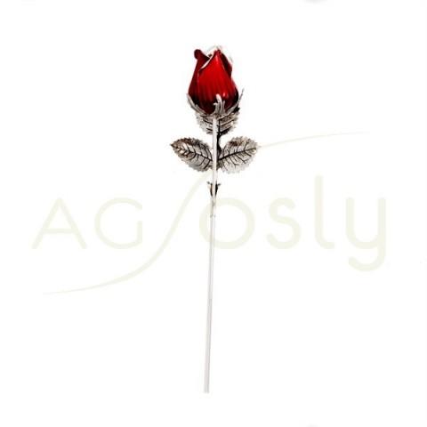 """Flor rosa de plata y esmalte en rojo. """"13cm"""""""