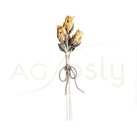 """Flor ramo pequeño de 3 rosas en plata chapada. """"9cm"""""""