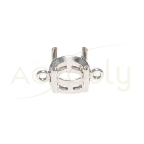 Galeria plata rodiada de 4 grapas con 2 anillas.8mm
