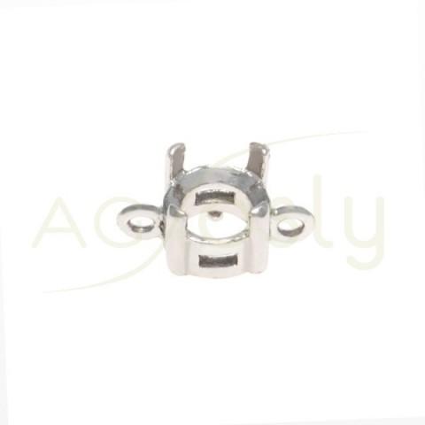 Galeria plata rodiada de 4 grapas con 2 anillas.6mm