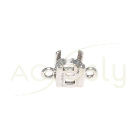 Galeria plata rodiada de 4 grapas con 2 anillas.5mm
