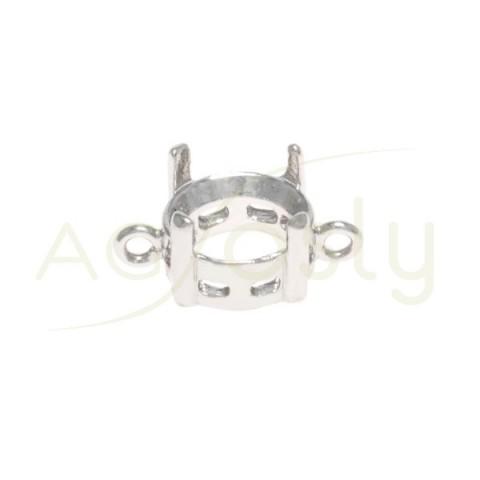 Galeria plata rodiada de 4 grapas con 2 anillas.9mm