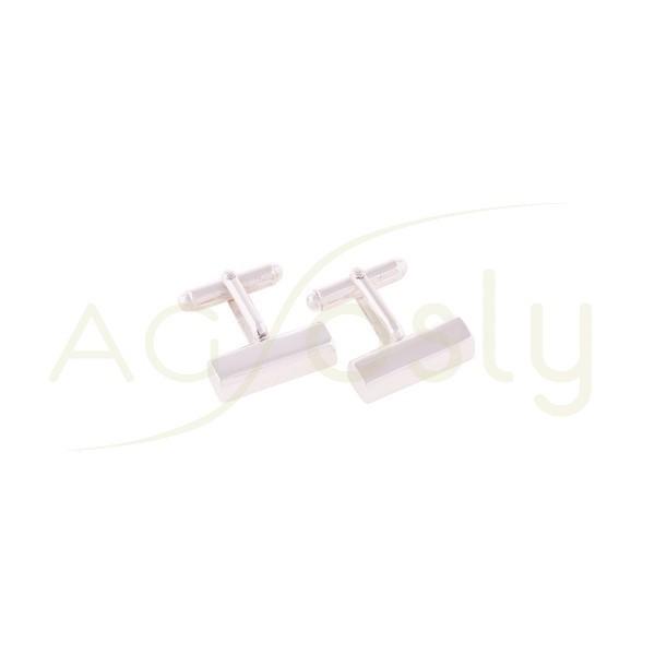 Gemelos plata con rectngulo y cierre articulado.14mm