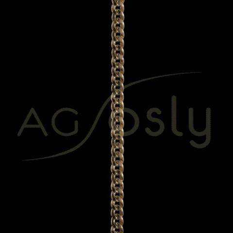 Pulsera oro de cadena barbada hueca 150-30 en 19cm.