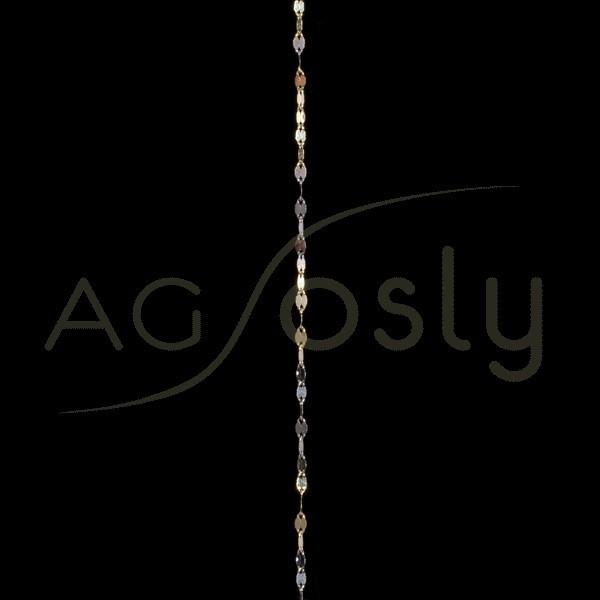 Cadena oro fantasía 4030 bicolor, 42cm.