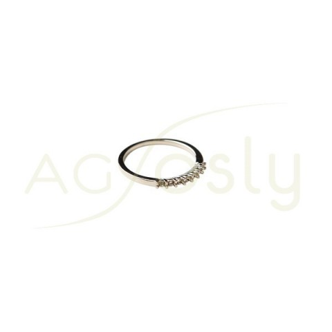 Montura base anillo en oro blanco.7 x 0,03ct diam.1,9mm.