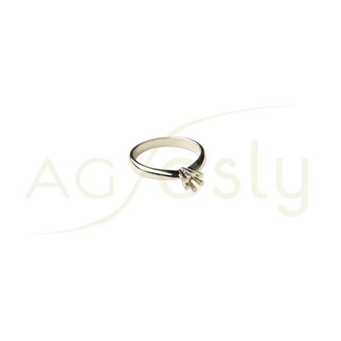 Montura base anillo en oro blanco.0,20ct diam.3,9mm.