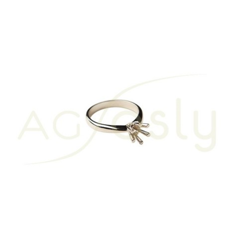 Montura base anillo en oro blanco.0,6ct diam.5,4mm.