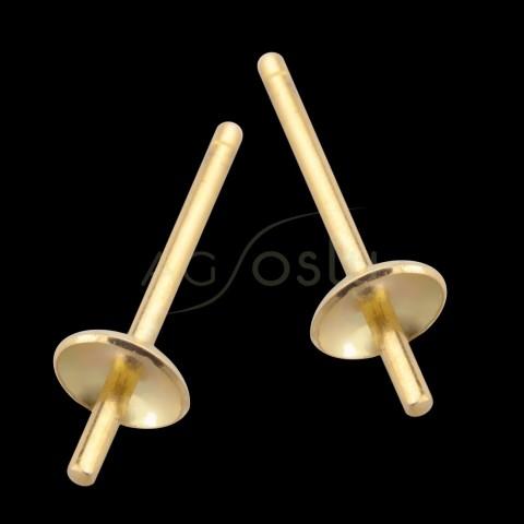 Base para pendiente cascarilla con perno en oro.3,5mm
