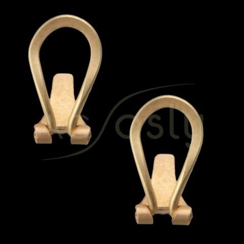 Cierre pendiente omega plano completo en oro.omega 15,1mm, talón 8,7mm