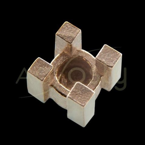 Galeria cuadrada, en oro blanco.4,3mm