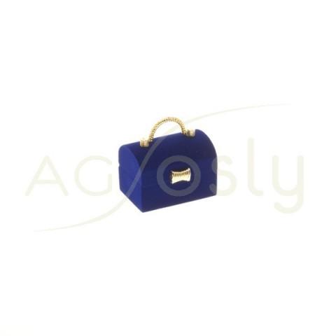 Estuche para anillo, modelo en forma de cofre azul con apliques dorados.