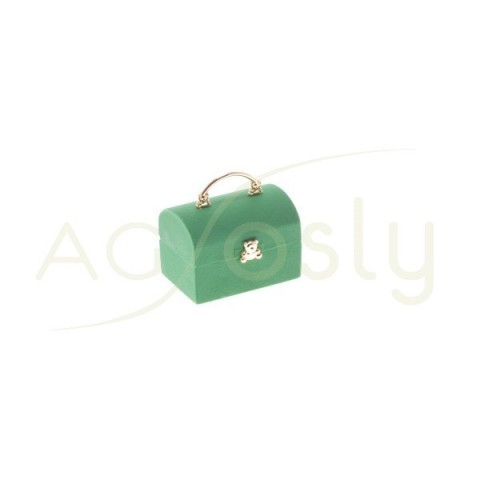 Estuche para anillos modelo cofre verde con apliques dorados.