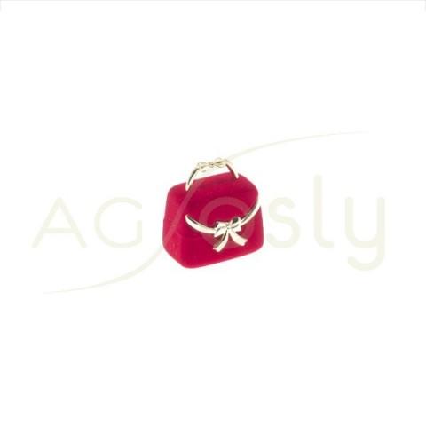 Estuche para anillo modelo bolsito rojo con apliques dorados.
