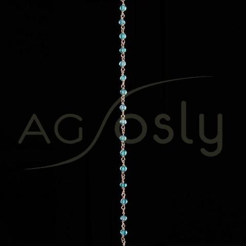 Cadena plata chapada rosario de onix verde.
