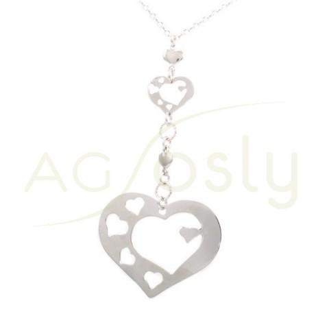 Collar plata rodiada con corazones calados.45cm.