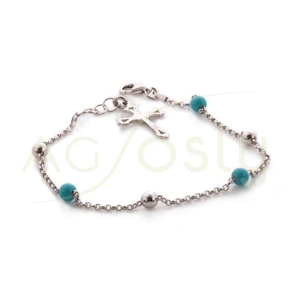 768677a7d54d Pulsera rosario de bolas azules.