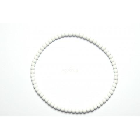 Pulsera elastica blanca de bolas facetadas.3mm