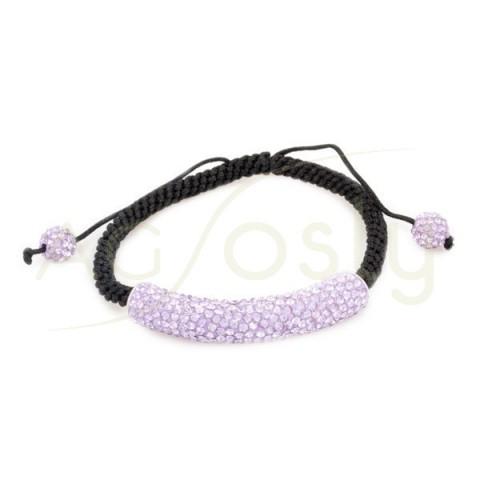 Pulsera de cordon y targa de cristales en tonos lila.