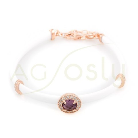 Pulsera de plata chapada en rosa con caucho blanco y centro con piedra en tonos amatista y circonitas.