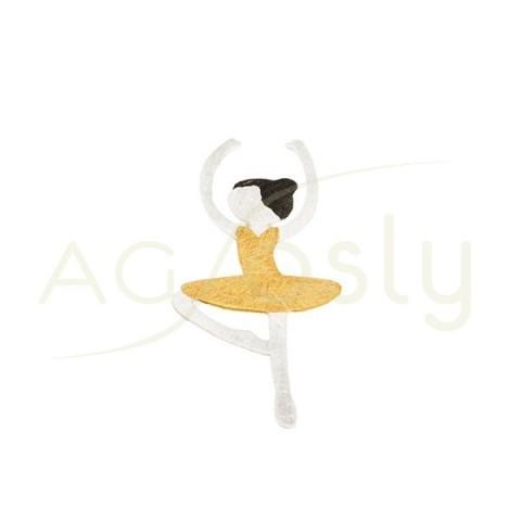 Colgante plata sol con bailarina, con detalles chapados.
