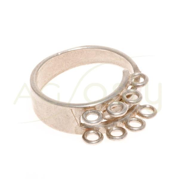 Base anillo abierta con 8 anillas.ancho 7mm
