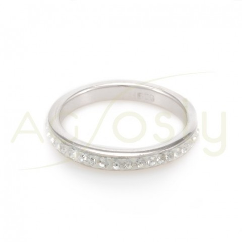 Anillo plata 3mm cristales blanco.