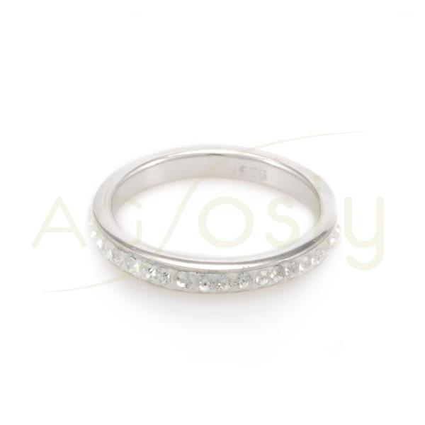 Anillo plata 3mm cristales blanco.