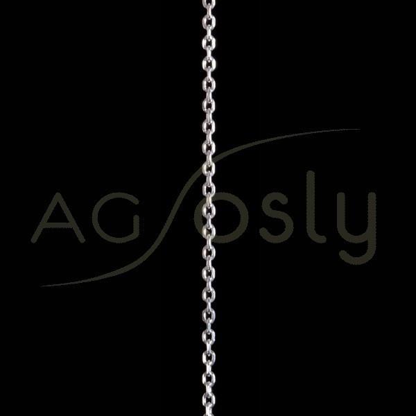 Cadena plata montada, modelo forzada diamantada 060 en 60cm.