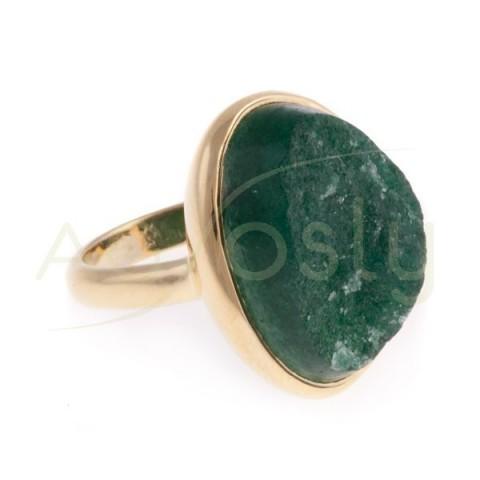 Anillo plata chapada con adventurina verde.