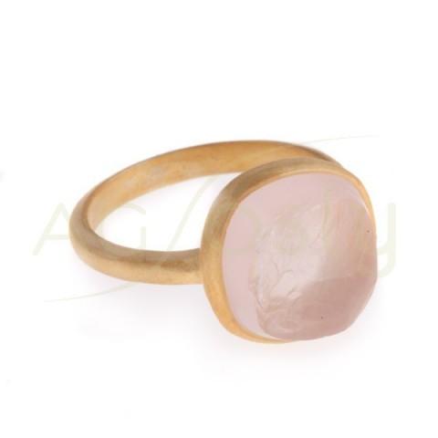 Anillo plata dorada con cuarzo rosa