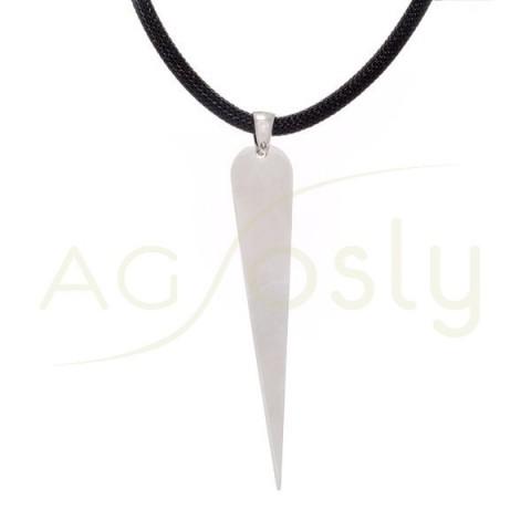 Collar plata rodiada con cordón negro y colgante de pincho.42cm