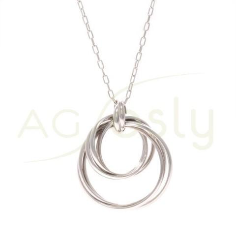 Collar plata con cadena forzada y aros entrelazados.70cm