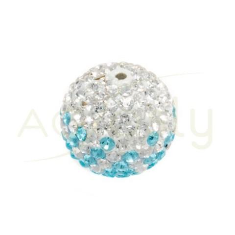 Bola cristales blanco/azul.14mm