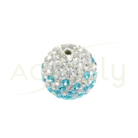 Bola cristales blanco/azul.12mm