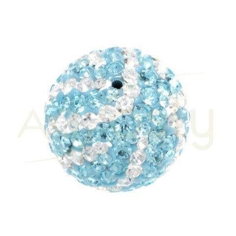 Bola cristales blanco/azul.18mm