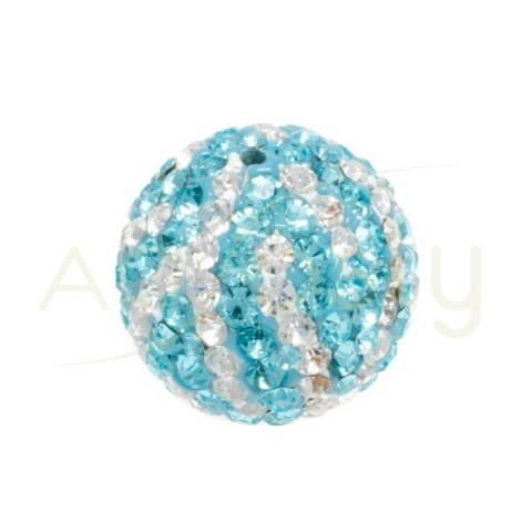 Bola cristales zebra blanco/azul.16mm