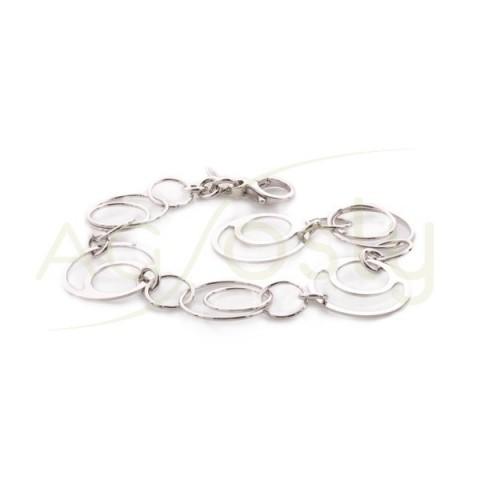 Pulsera plata rodiada en convinación de anillas.