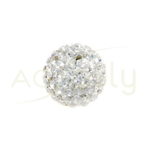 Bola cristales blanca con un agujero.12mm