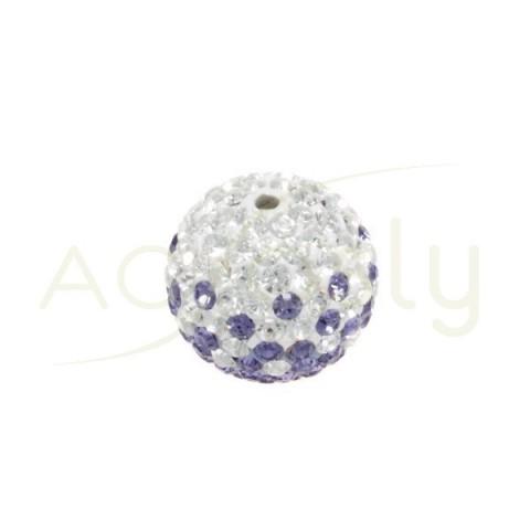 Bolas cristales blanco/lila.12mm