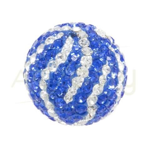 Bolas cristales zebra blanco/azul.20mm