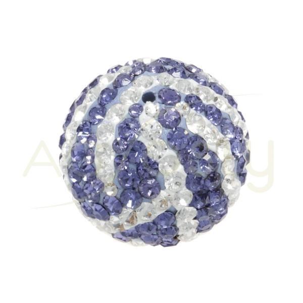 Bolas cristales zebra blanco/lila.20mm