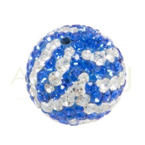 Bola cirstales blanco/azul.14mm