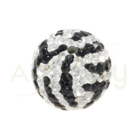 Bola cirstales blanco/negro.12mm