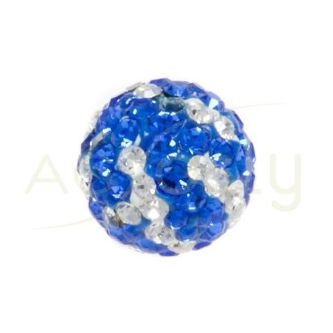 Bola cirstales blanco/azul.10mm