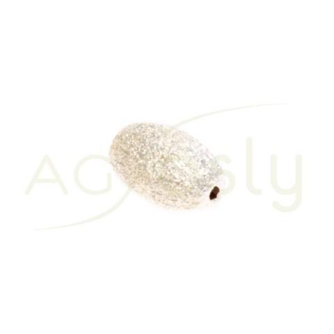 Pieza de montaje, plata diamantada de forma oval.10mm