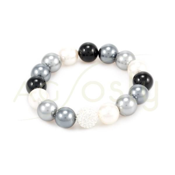 Pulsera elastica con perlas en varios tonos y cristal