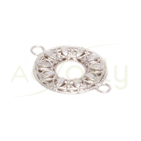 Pieza de montaje en plata rodiada, anilla calada.20mm