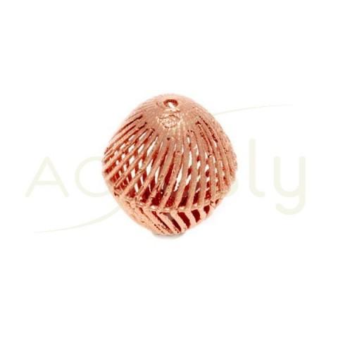 Pieza de montaje en plata chapada en rosa, modelo oval calado.18mm Int.1,2mm