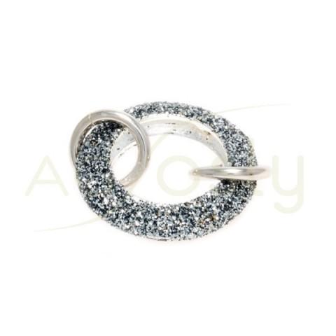 Entrepieza de plata con Circonitas gris.20mm